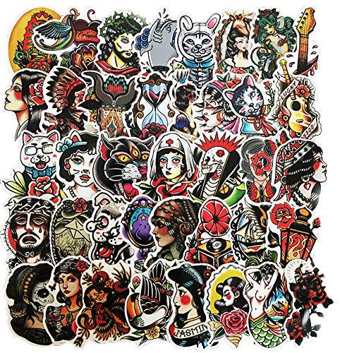 Honch Tattoo Stickers Pack 50 Pcs Suitcase Stickers Vinyl Decals for Laptop Bumper Helmet Ipad Car...