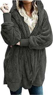 Plush Jacket Women Hooded Coat Warm Jacket Winter Coat Long Sleeve Winter Cardigan Solid Jumper Oversized S-5XL