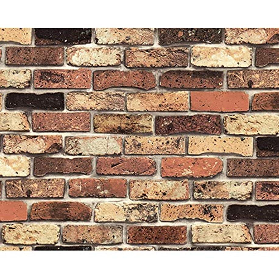 リール動くドラフト貼ってはがせる 壁紙シール PETAPA 賃貸OK レンガ 50×250cm (50cm×30m(1ロール), ブラウン)