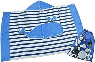 TOKYO-T Kids Beach Towel with Hood Poncho String Bag Set for Boys Girls (Stripe Whale)