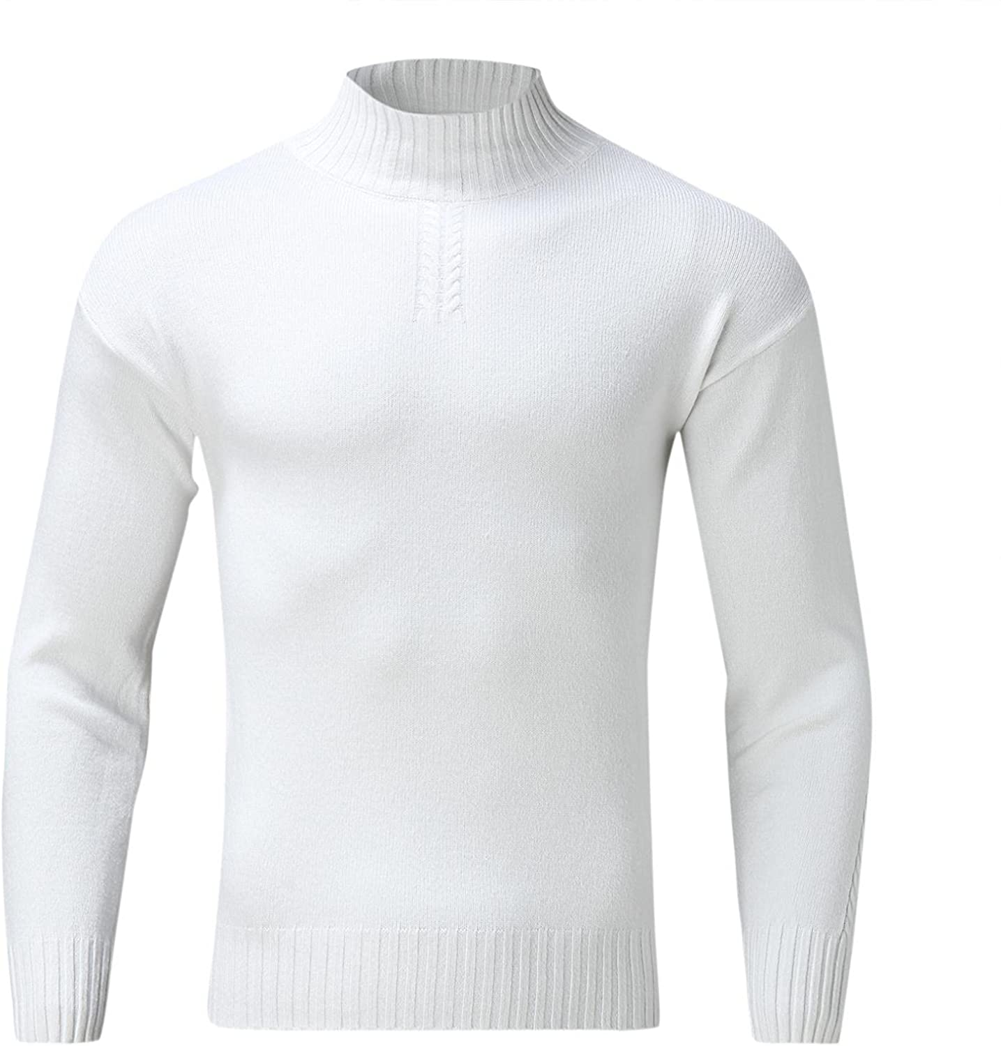 Burband Mens Casual Turtleneck Pullover Sweaters Slim Fit Basic Knitted Thermal Tops Long Sleeve Lightweight Base Layers