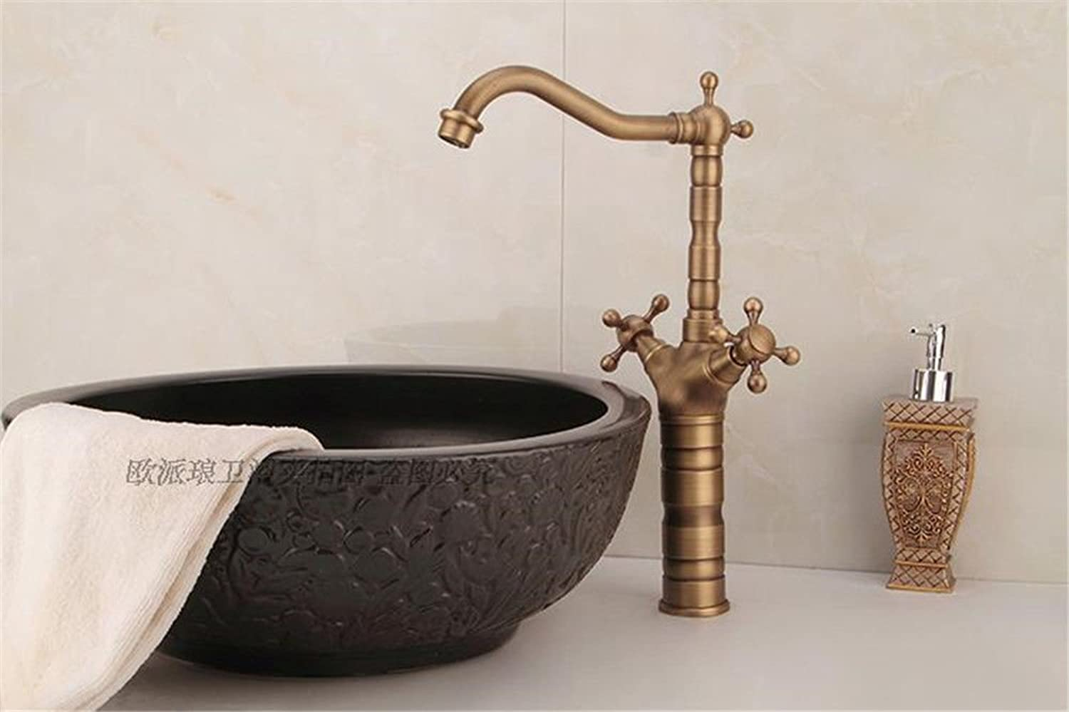 ETERNAL QUALITY Bathroom Sink Basin Tap Brass Mixer Tap Washroom Mixer Faucet All copper antique table basin mixer basin cold water tap retro plus high water faucet Kitch