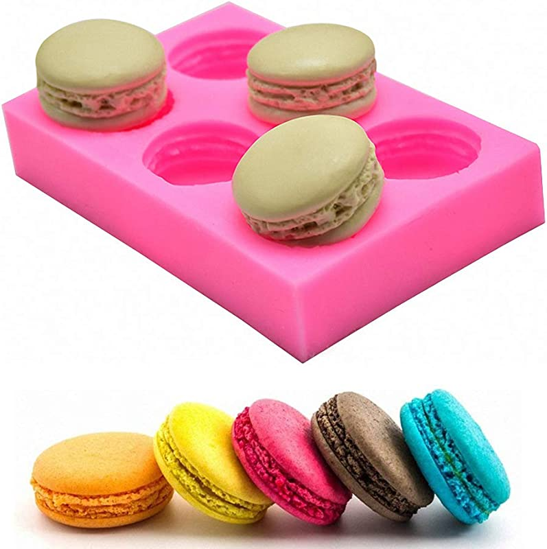 MoldFun 6 Cavity 3D Macaroon Macaron Hamburger Silicone Mold For Fondant Cake Cupcake Decorating Baking Gum Paste Chocolate Candy Polymer Clay Mini Soap Bath Bomb