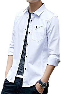 FSSE Men's Long Sleeve Button Down Slim Fit Pockets Casual Shirts