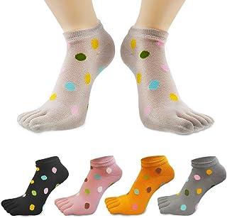 QUMENEY, 5 pares de calcetines de algodón para mujer, colores de corte bajo, 5 dedos para niñas, calcetines de tobillo casuales para mujer