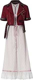 Aerith Gainsborough Costume Red Jacket Pink Dress Halloween Cosplay Costume for Women