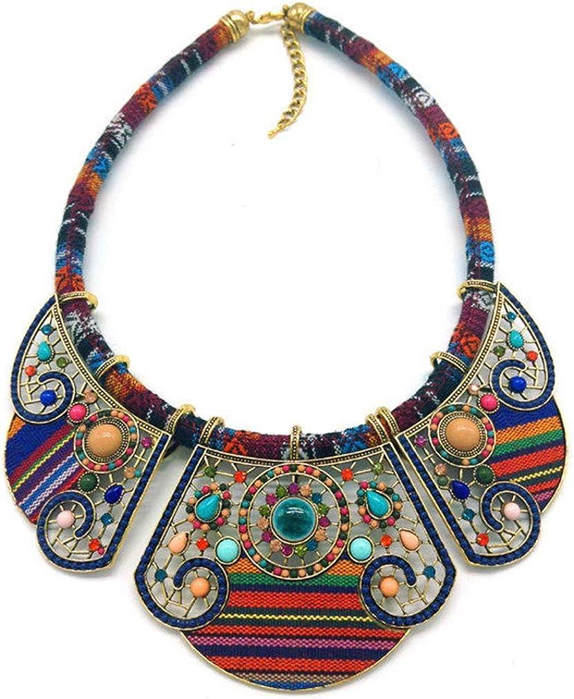YAZILIND Chunky Colorful Ethnic Festival Tribal Beaded Bib Collar Choker Costume Necklace