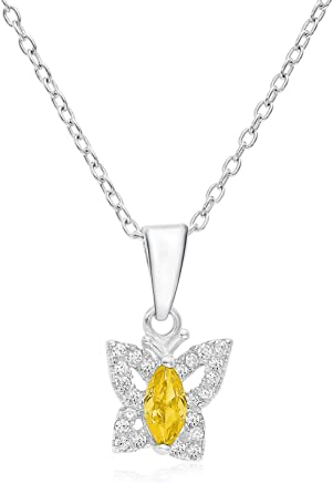 """Halo Butterfly Pendant in Sterling Silver with Simulated Citrine November CZ Birthstone with 16"""" Chain"""