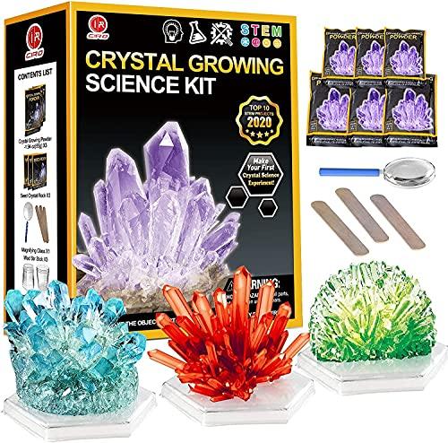CIRO Kristalle Züchten Experimentierset 3 Farben,Experimentierkasten Experimente für Kinder ab 5 6 8 10 Jahre Wissenschaftler Spielzeug für Kinder Jungen Mädchen Geschenke