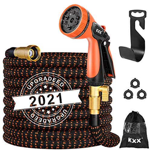 Kxx Expandable Garden Hose 50FT-Strong Durable 3750D | 4-Layers Latex Core Flexible Water Hose,3/4 No-Rust Brass Connector with Pocket Protectors,Kink Free Garden Water Hose with 10 Function Nozzle