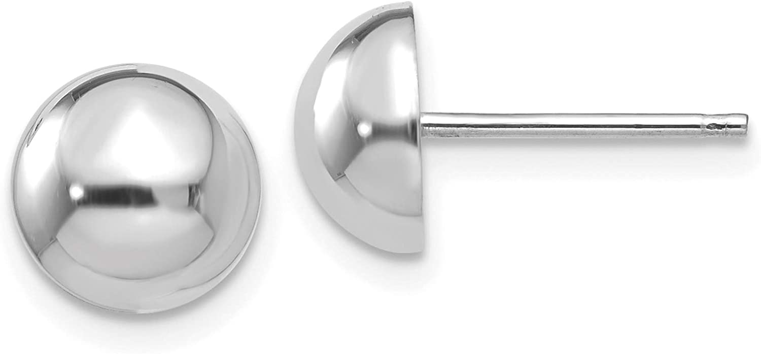 14K White Gold 8mm Half Ball Post Earrings (Approximate Measurements 8mm x 8mm)