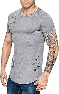 Enjoybuy Mens Short Sleeve T Shirts Hipster Hip Hop Basic Curved Hem Ripped Tops