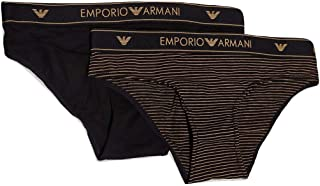 Emporio Armani Bodywear Women's Women's Knit Brief Duo Pack, Nero/Rigato Bronzo