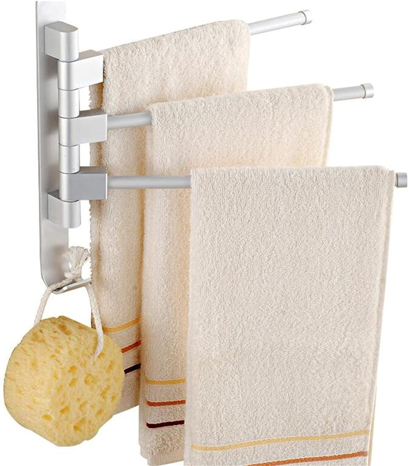 MX Towel Stands Towel Rack - Space Aluminum, 180° Active, Oxidized, Multi-bar, Wall-Mounted Bathroom Perforated Towel Rack, Suitable for Bathroom, Home - 60x14cm @ (color   Three Shots)