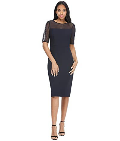 Maggy London Illusion Neck Midi with Pearl Trim (Dark Navy) Women