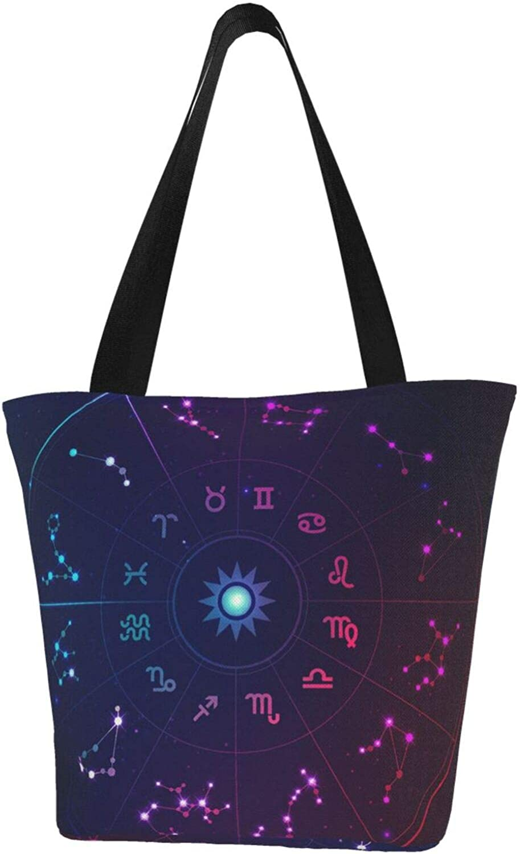 Cancer Zodiac Constellation Purple Charm Stars Themed Printed Women Canvas Handbag Zipper Shoulder Bag Work Booksbag Tote Purse Leisure Hobo Bag For Shopping