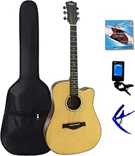 Aiersi Best Choice 41in Top Solid Acoustic Guitar Kit w/free Padding Gig Bag, Capo,Extra Alloy String,Clip On Tuner- For A...