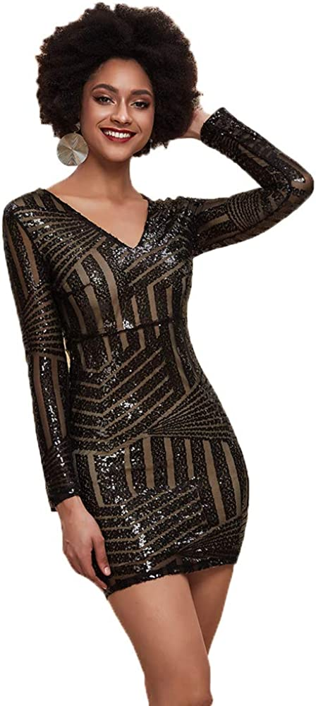 Miss ord Women's V-Neck Long Sleeve Seq Bodycon Sexy Mini Dress Max 42% OFF New Orleans Mall