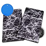 Stovetop Burner Covers by MALLOWA - Decorative Marble Design Rectangular Set of 2 for Hiding Mess and Protecting Elements - Includes Trivet for Hot Pots