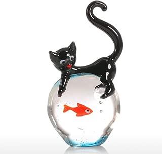 Tooarts Cat and Goldfish Sculpture Glass Ornament Cat Figurine Hand Blown Black & Red