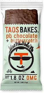 Taos Bakes Energy Bars - Peanut Butter Chocolate + Butterscotch (Box of 12, 1.8oz Bakes) - Gluten-Free, Non-GMO, Vegan Snack Bars