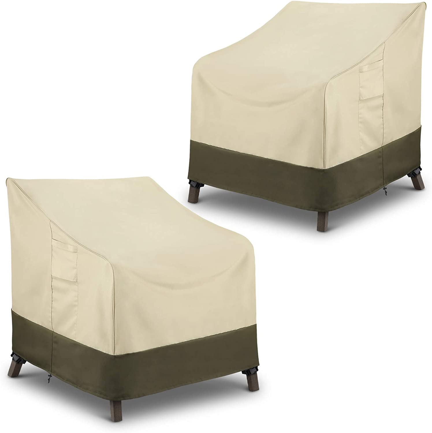 SunPatio High Back Patio Chair Covers, Waterproof Oversized Chair Covers, 600D Heavy Duty UV-Coated, Durable Rip Resistant, 2 Pack-38W x 32D x 36H inch, Beige & Olive