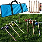 Hey! Play! Croquet Set- Wooden Outdoor Deluxe Sports Set with Carrying Case- Fun Vintage Backyard Lawn Recreation Game, Kids or Adults (6 Players)