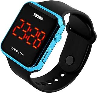 Kids or Adults Fruit Powder led Electronic Sports Watches, Large Screen pu Strap Waterproof Men and Women Students Couple Wristwatch-E