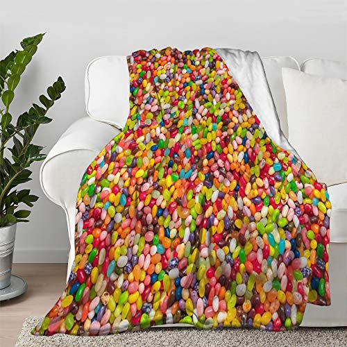 Multi-Styles Gourmet Jelly Bean Pattern Food Throw Blanket Quilt Bedspread Flannel Ultra Soft Microfiber Luxurious Warm Cozy Bed Camping Couch Home Decor (L 80'X60' Inch for Adult)