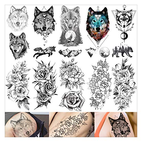 VANTATY 10 Sheets Vintage Adults Temporary Tattoos Stickers For Girls Geometric Black Wolf Face Waterproof Tattoo Paste For Women Body Art Arm 3D Peony Flower Tatoos Fake illustration.