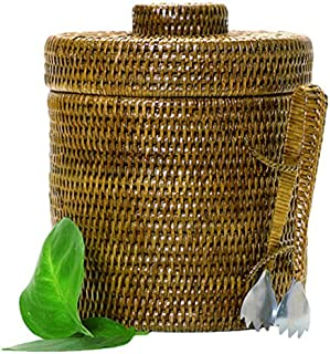 Artifacts Trading Company Rattan Ice Bucket with Tongs, Large, 12