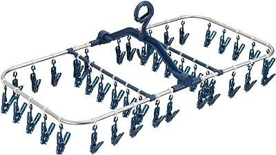 天馬 洗濯物ハンガー ポーリッシュ ピンチが割れにくいステンレス角ハンガー ピンチ42個付き ネイビー 約27×71×37cm PL-30