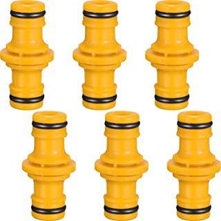 6 Pack Double Male Hose Connectors Extender for Join Garden Hose Pipe Tube Yellow