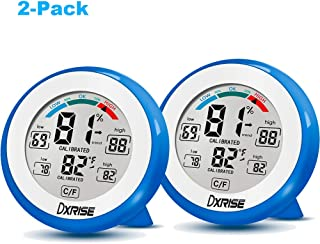 dxrise Wireless Humidity Gauge Digital Hygrometer Indoor Temperature and Humidity Monitor meter with Accurate Monitor Clear Reading, Min/Max Records, C/F switch (Blue 2-Pack)