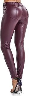 FITTOO Damen Lederhose PU Leder Latex Leggings Lederimität Jeggings Hohe Taille Leather Strumpfhose