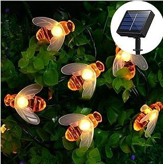 Bee Solar String Lights Outdoor, 50 LED Waterproof Solar Lights Outdoor String, Solar Powered String Lights Fairy Lights S...