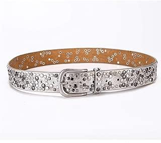 Studded inlaid suit pants decorative belt Women's fashion casual belt. (Color : Silver white)