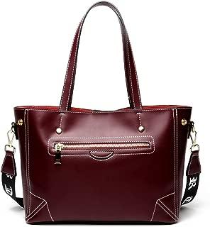 Leather 2018 New Women's Handbags Fashion Simple Women's Shoulder Diagonal Wallet Leather Large Capacity Handbag Waterproof (Color : Purple, Size : M)