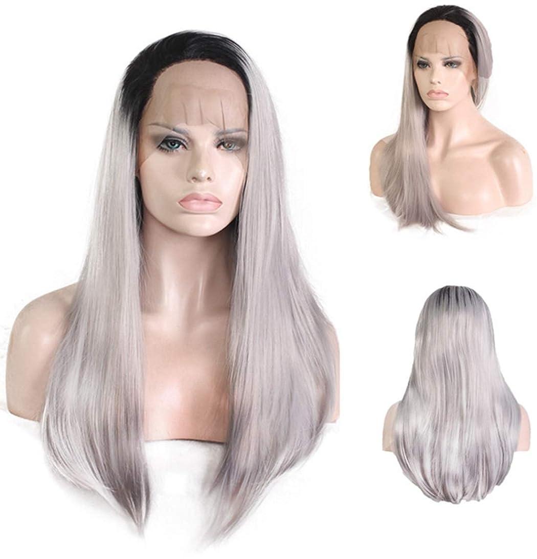 入場運命便利さ女性のための自然な長いストレートストレートヘア合成レースフロントウィッグ (Color : Black gradient gray)