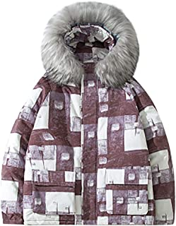 wuliLINL Men Faux Fur Hooded Coat Printing Warm Cotton Padded Parka Outerwear Coats Casual Clothes