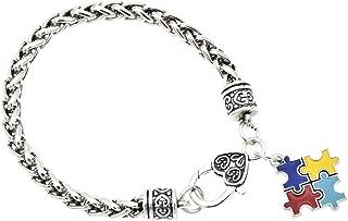 Qlychee Puzzle Pieces Charm Pendant Bracelet Autism Chain Bracelet Heart Lobster Unisex 1 Pc