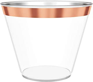 9 oz Rose Gold Rimmed Plastic Wine Glasses for Parties – 100 pack Clear Plastic Cups Match Your Rose Gold Party Decorations for Birthdays, Weddings, Bachelorette Party and Baby Shower