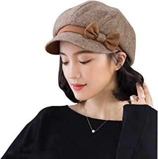 Women's Knit Hats with Squat Hats, Wool Lining, ski Hats, Casual Hats, Women's Spring and Autumn, Winter Fashion, Wild Student, Beret, Octagonal hat, Literary Painter hat (Color : Brown)