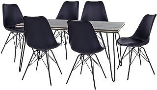 AltoBuy ASCA - Ensemble Table 160cm + 6 Chaises Haga Noires
