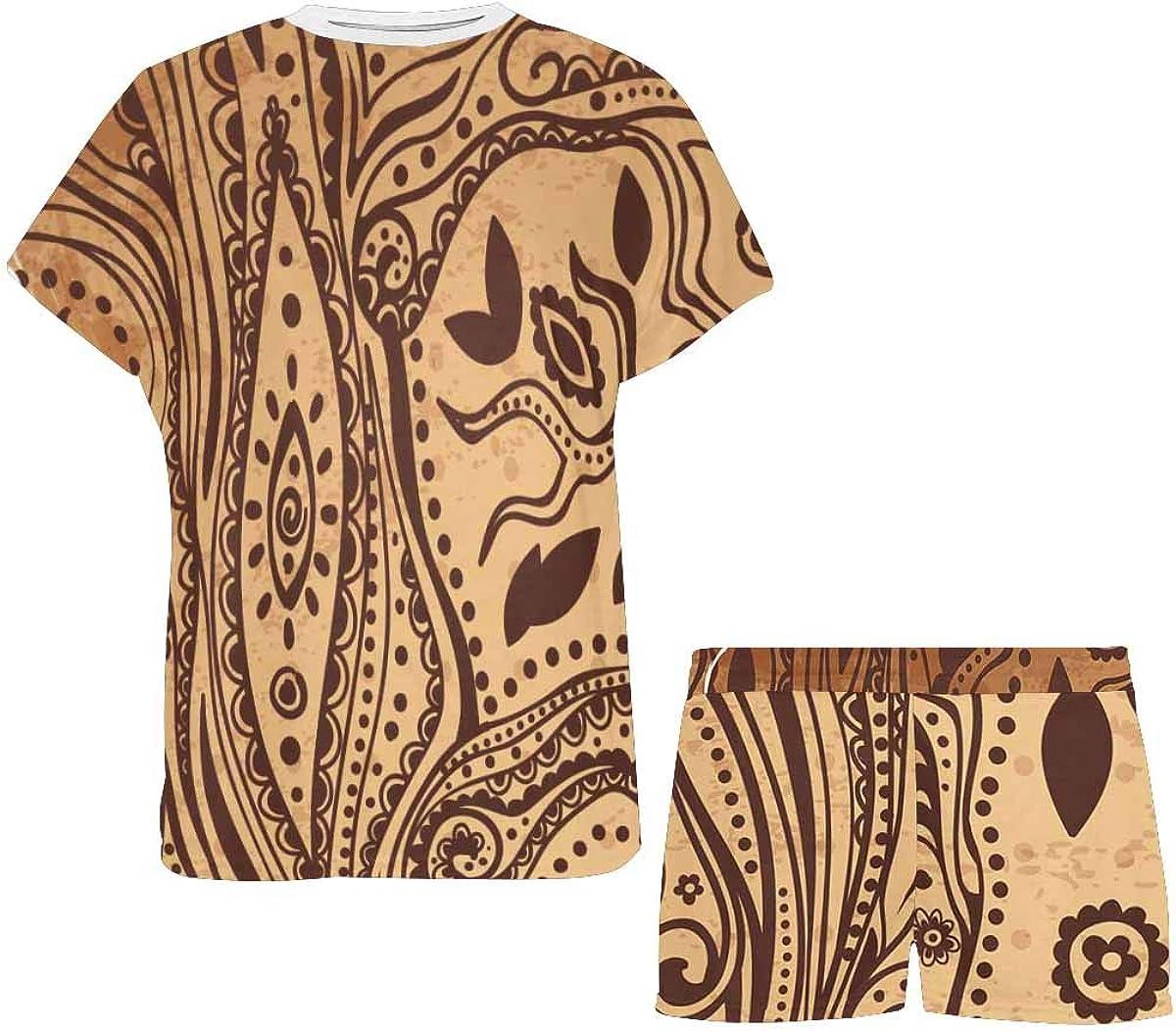 InterestPrint Beautiful Unique Ethnic Tree of Life Women's Breathable 2 Piece Shorts Pajama Sleepwear Set