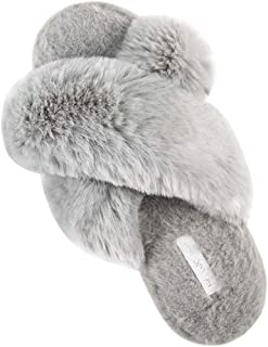 Womens Memory Foam Slippers, Plush Fleece Lined House Shoes, Anti-Skid Rubber Sole, for Indoor/Outdoor,Gray,XL