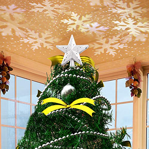 JISUSU Christmas Tree Toppers,Christmas Tree Star Topper Lighted with LED Rotating White Snowflake Projector, 3D Hollow Glitter Lighted Golden Star Tree Topper for Christmas Tree Decorations (Sliver)