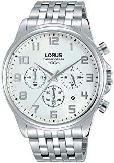 RT337GX9 - Lorus Men's, Quartz, 100m Water Resistant, Chronograph, Stainless Steel, Silver with White Dial