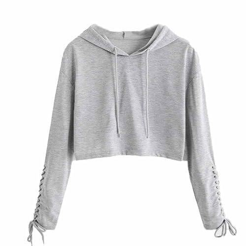 Womens Bandage Crop Top Teen Girls Long Sleeve Shirt Sweater Jacket Sweatshirt Jumper Pullover Tops Clearance Sale