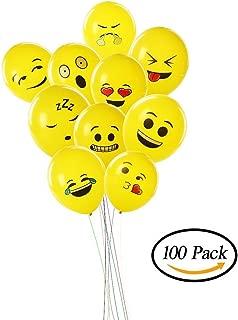 Smartcraft Emoji Balloons Latex Yellow Emoji Smiley Balloons (Pack of 100)